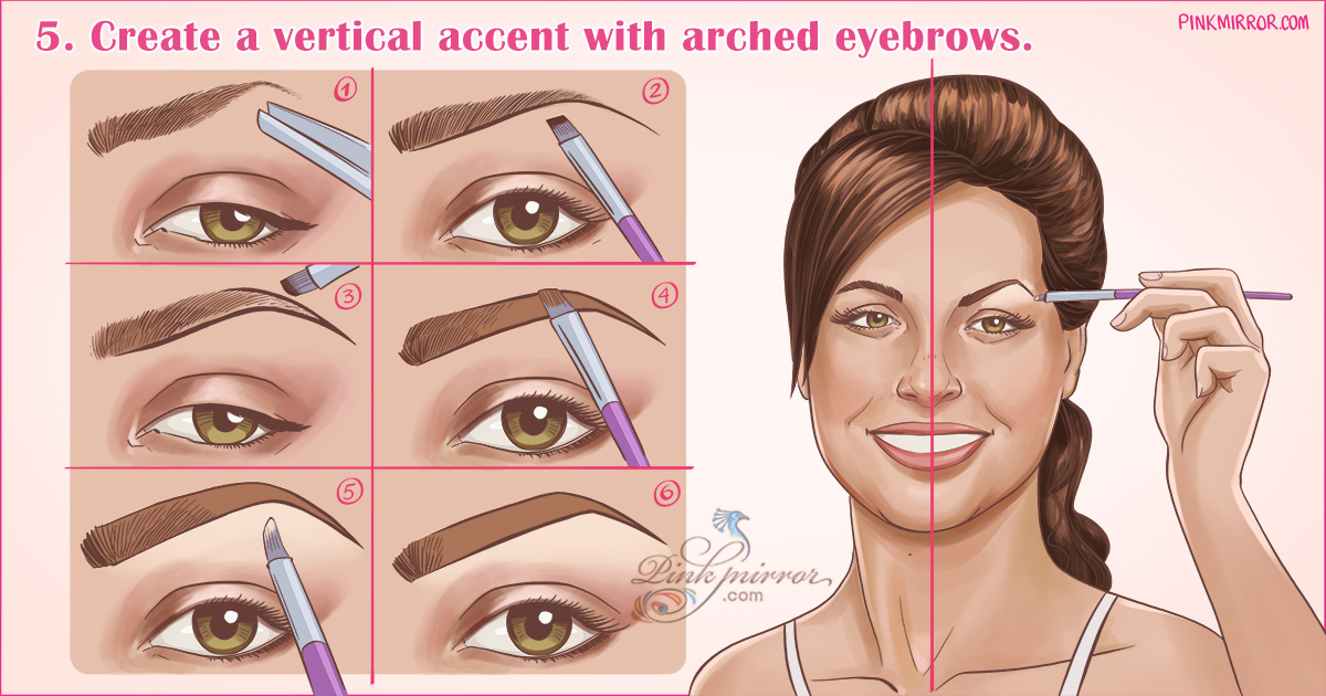 Create a vertical accent with arched eyebrows